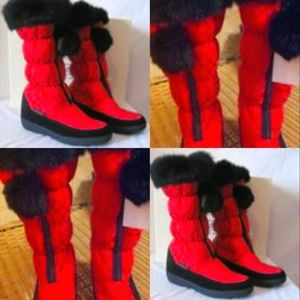 NEW SIG C MID HIGH WINTER BOOTS REAL BLACK RABBIT FUR SIZE 6.5